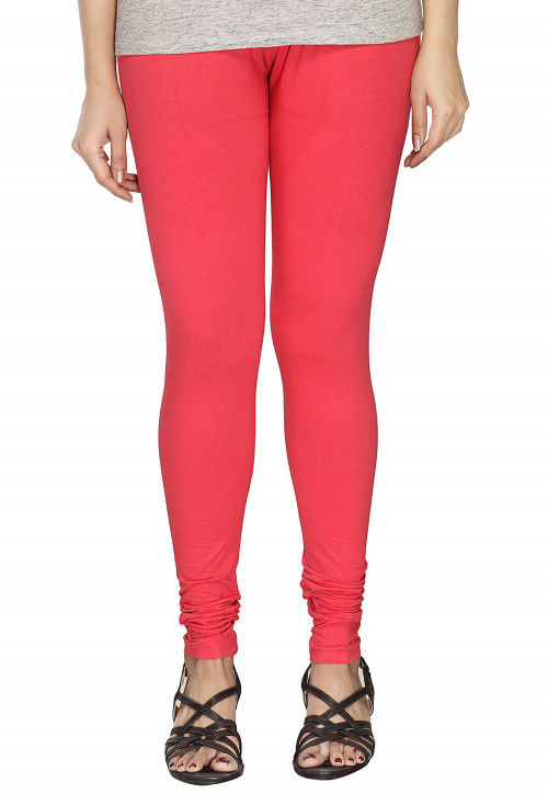 Solid Color Cotton Lycra Leggings in Coral Pink