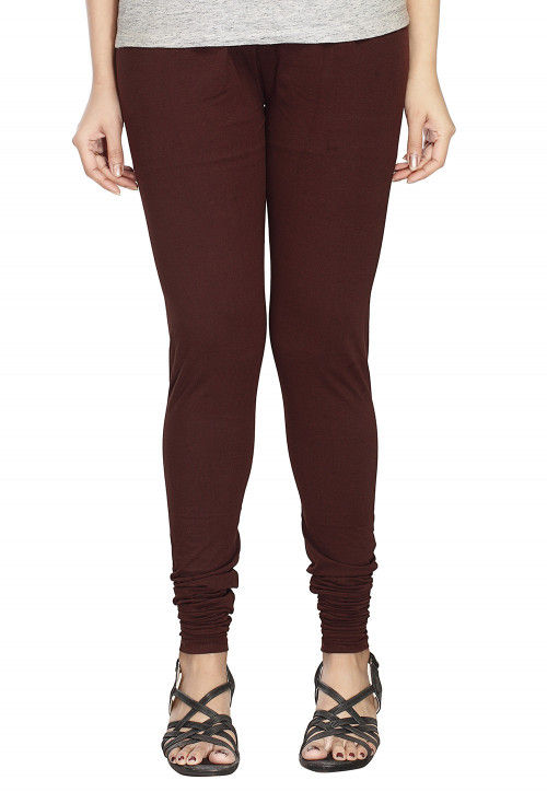 Solid Color Cotton Lycra Leggings in Dark Brown