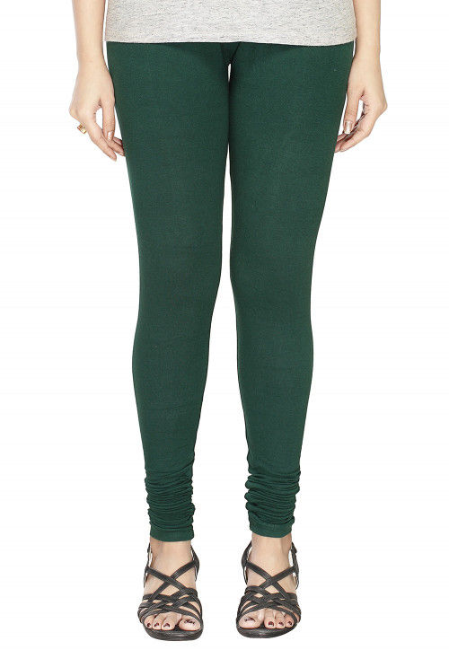 Solid Color Cotton Lycra Leggings in Dark Green