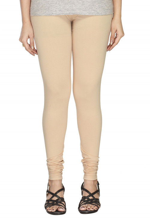 Solid Color Cotton Lycra Leggings in Light Beige