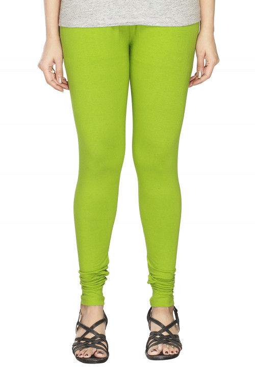 Solid Color Cotton Lycra Leggings in Light Green