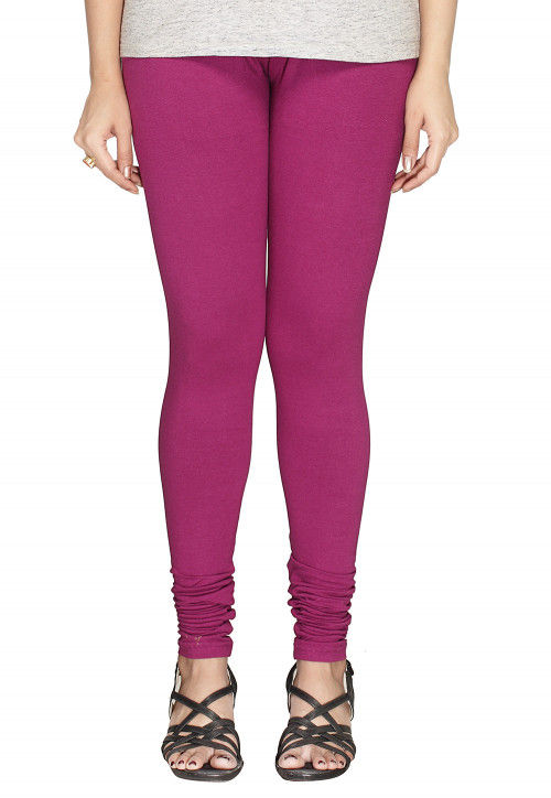 Solid Color Cotton Lycra Leggings in Magenta