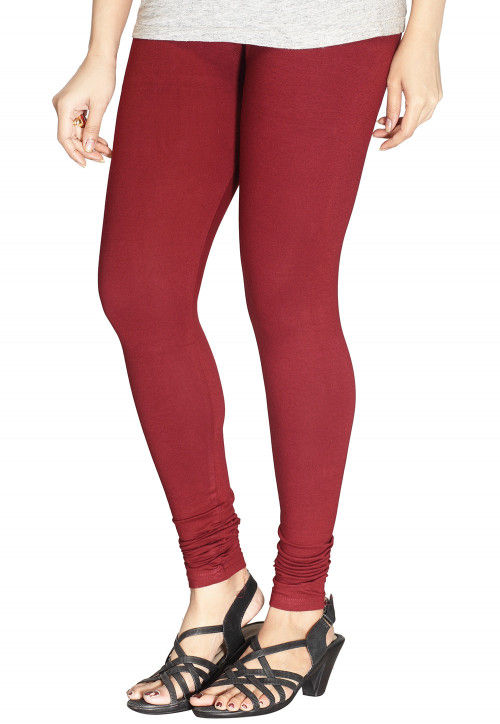 Solid Color Cotton Lycra Leggings in Maroon