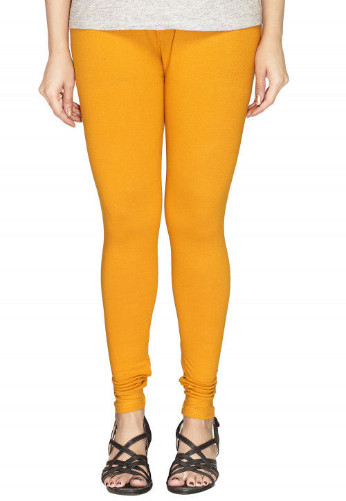 Solid Color Cotton Lycra Leggings in Mustard