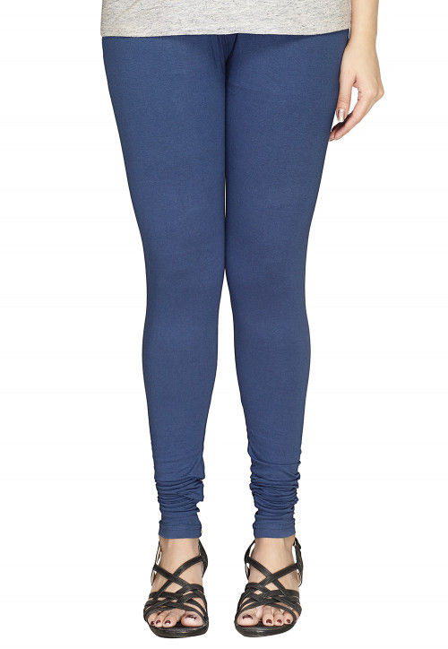 Solid Color Cotton Lycra Leggings in Navy Blue