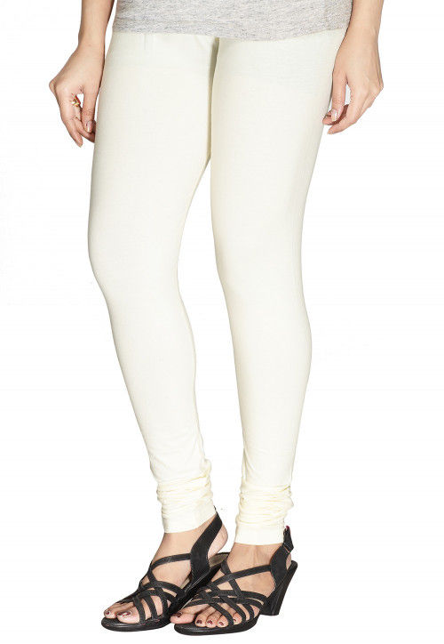 10163269de309 Solid Color Cotton Lycra Leggings in Off White : BCF111