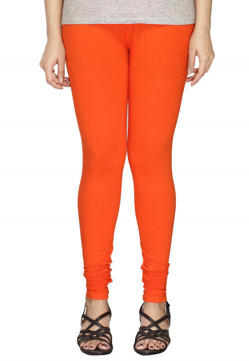 Solid Color Cotton Lycra Leggings in Orange