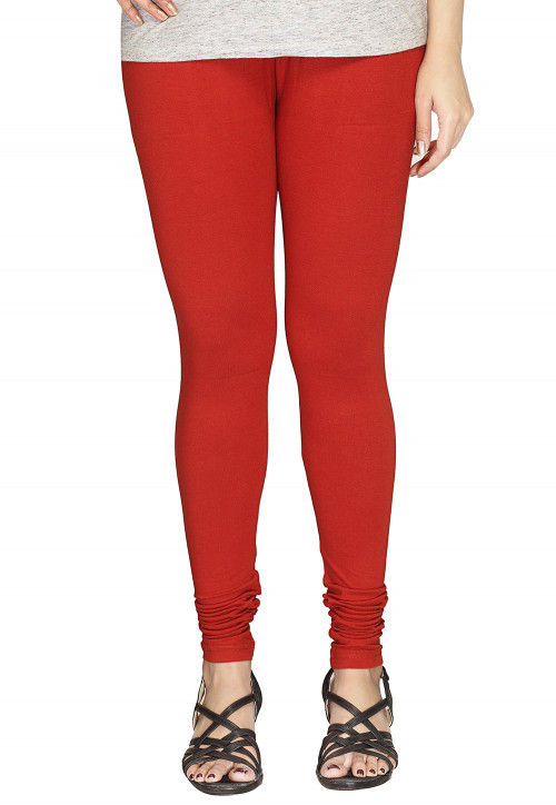 Solid Color Cotton Lycra Leggings in Red