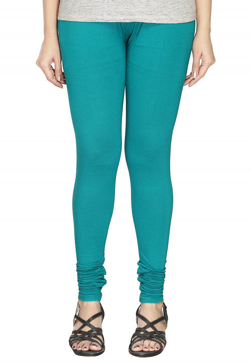 Solid Color Cotton Lycra Leggings in Turquoise