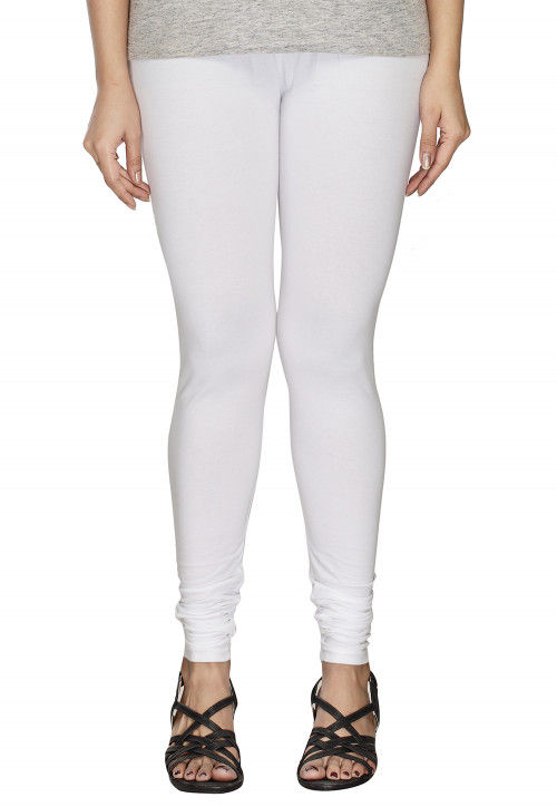 Solid Color Cotton Lycra Leggings in White