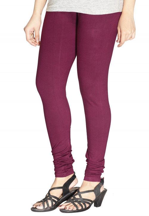 Solid Color Cotton Lycra Leggings in Wine