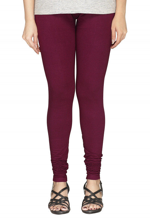 Solid Color Cotton Lycra Leggings in Wine