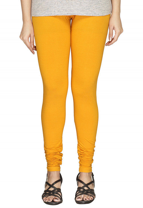 Solid Color Cotton Lycra Leggings in Yellow