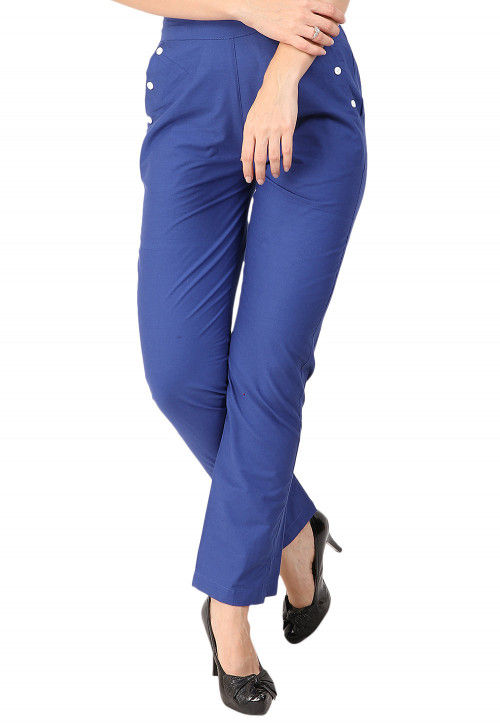 Solid Color Cotton Pant in Blue