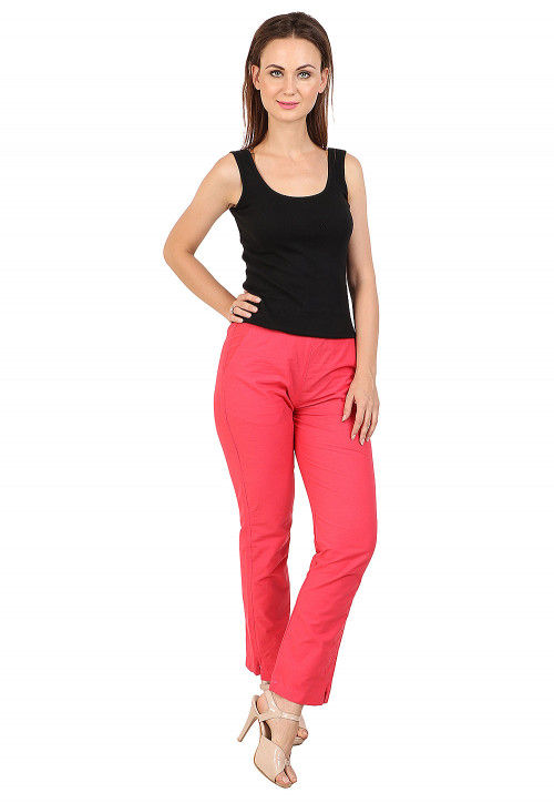 Solid Color Cotton Pant in Coral Pink