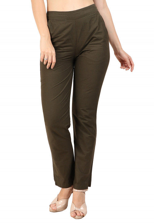 Solid Color Cotton Pant in Dark Olive Green