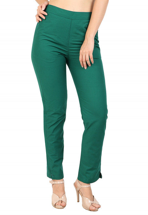 Solid Color Cotton Pant in Green