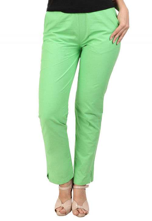 Solid Color Cotton Pant in Light Green