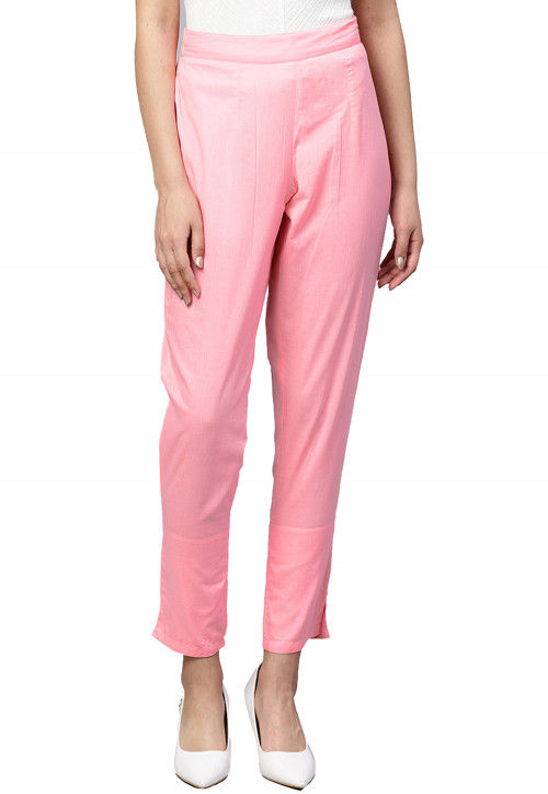Solid Color Cotton Pant in Light Pink
