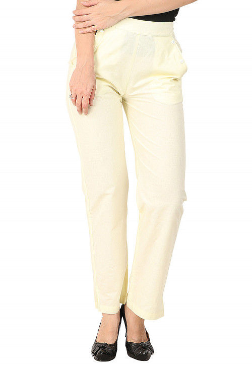 Solid Color Cotton Pant in Light Yellow