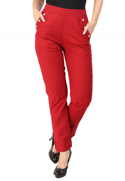 Solid Color Cotton Pant in Maroon