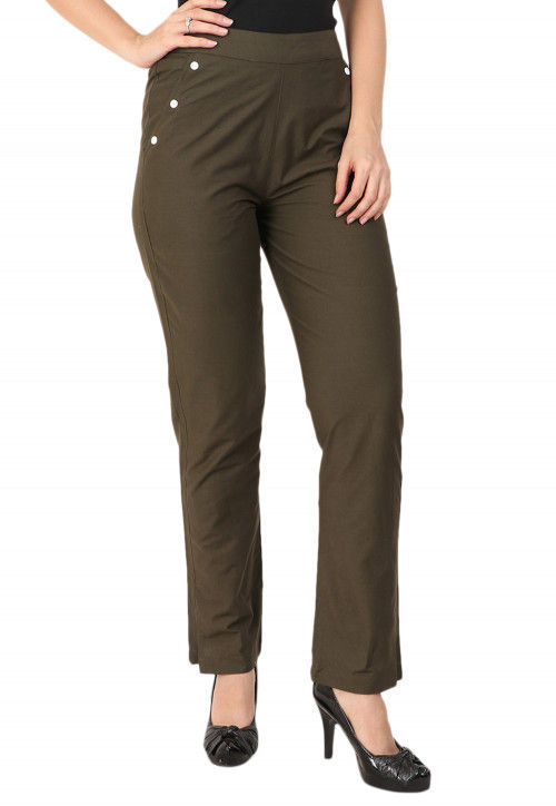 Solid Color Cotton Pant in Olive Green