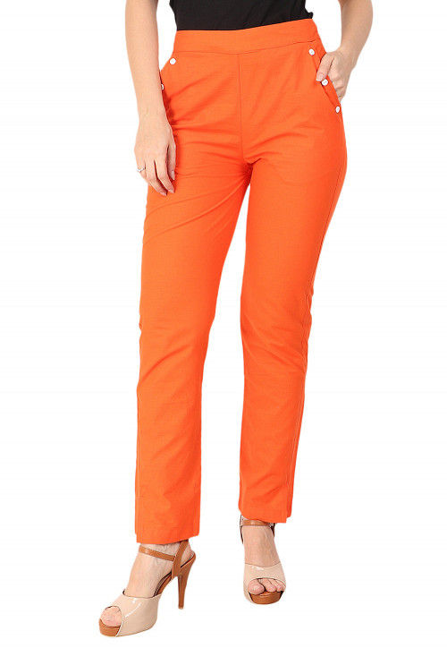 Solid Color Cotton Pant in Orange