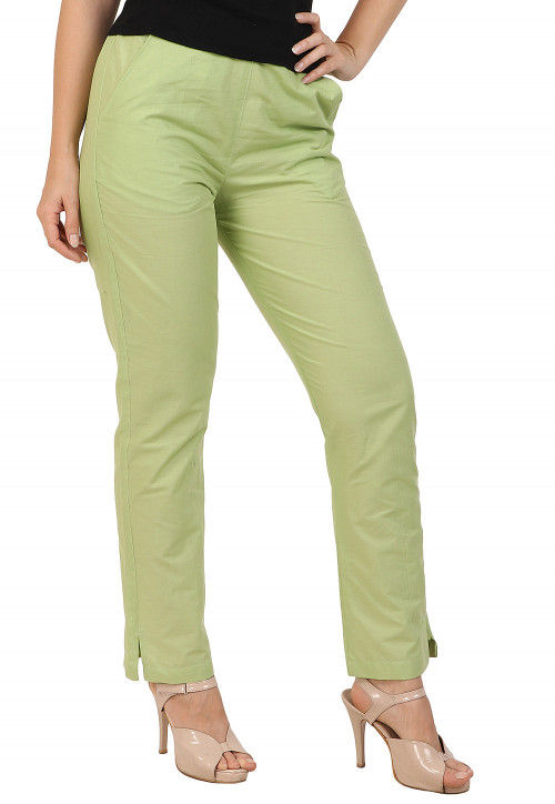 Solid Color Cotton Pant in Pastel Green