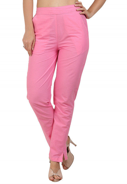 Solid Color Cotton Pant in Pink