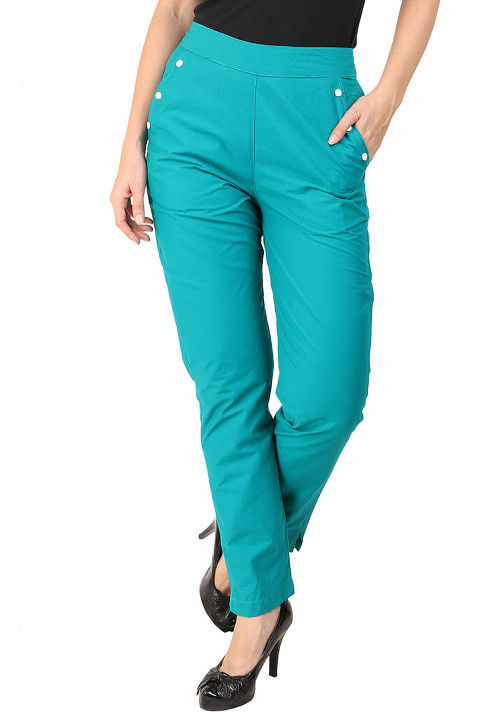 Solid Color Cotton Pant in Teal Blue
