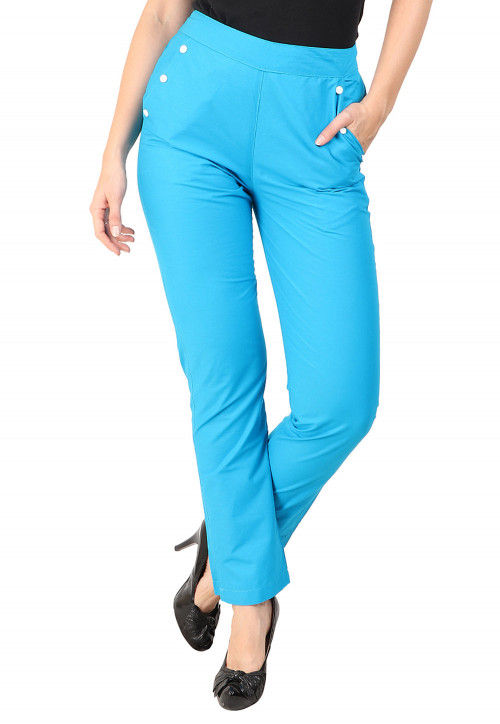 Solid Color Cotton Pant in Turquoise