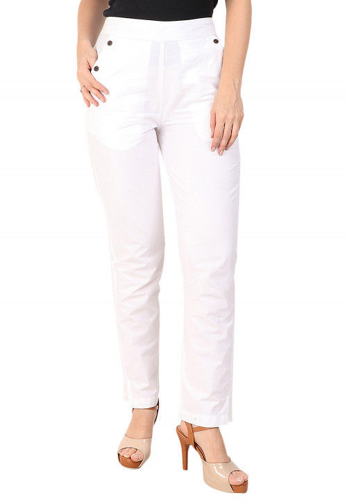 Solid Color Cotton Pant in White
