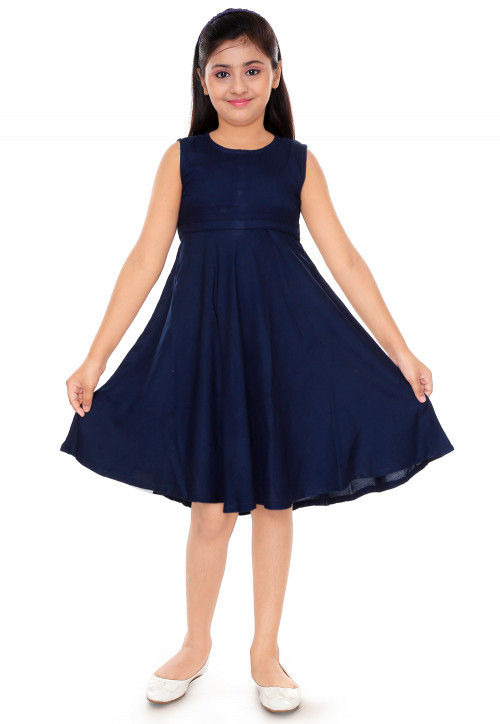 Solid Color Cotton Rayon Dress in Navy Blue