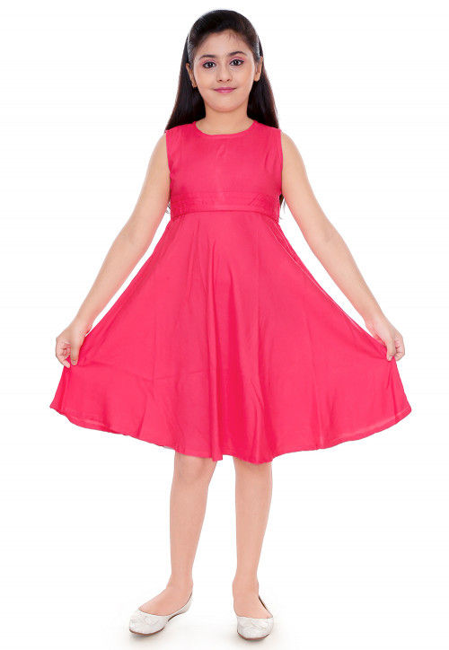 Solid Color Cotton Rayon Dress in Pink