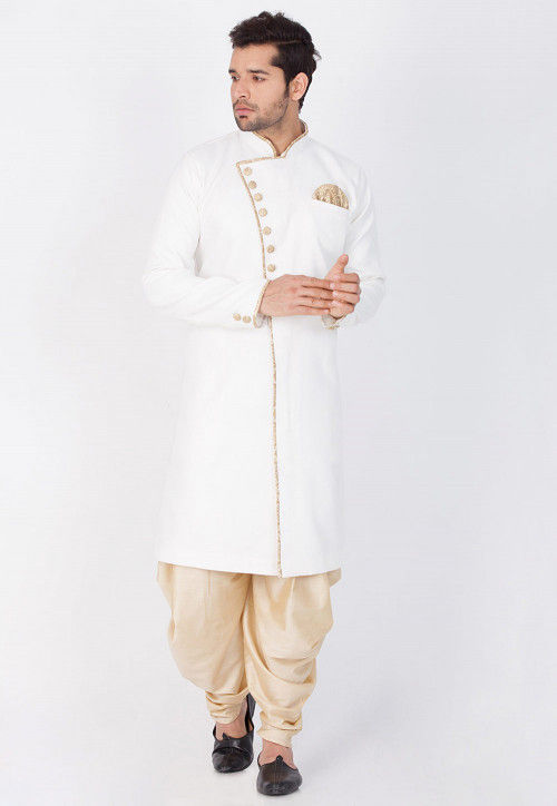 Solid Color Cotton Silk Sherwani in White