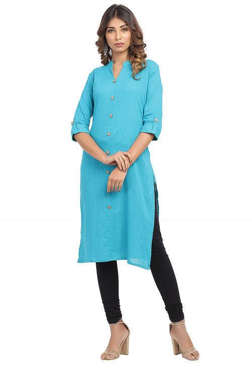 Solid Color Cotton Slub Straight Kurta in Turquoise