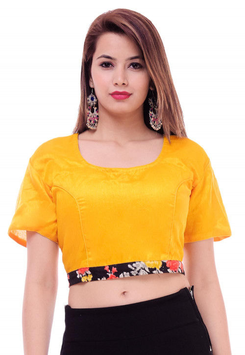 cc4f25700 Solid Color Dupion Silk Blouse in Yellow : UJN543