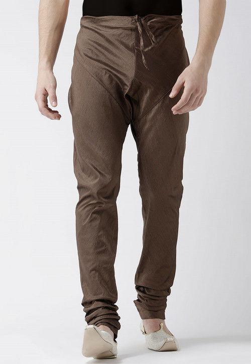 Solid Color Dupion Silk Churidar in Brown