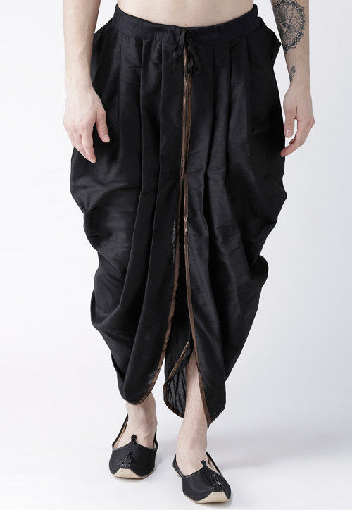 Solid Color Dupion Silk Dhoti in Black