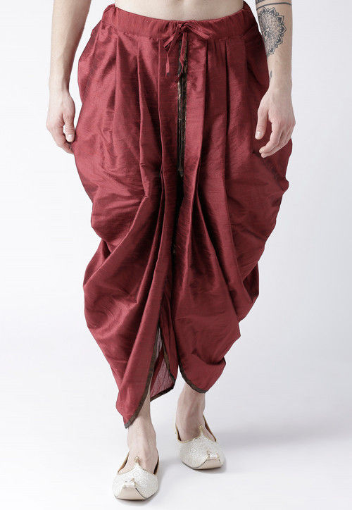 Solid Color Dupion Silk Dhoti in Maroon