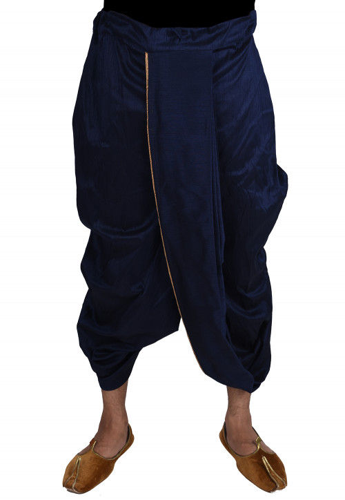 Solid Color Dupion Silk Dhoti in Navy Blue