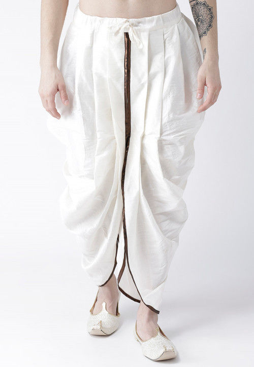 Solid Color Dupion Silk Dhoti in Off White