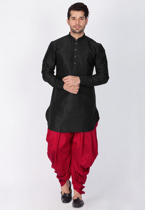 Solid Color Dupion Silk Dhoti Kurta in Black