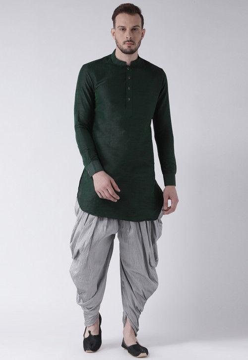 Solid Color Dupion Silk Dhoti Kurta in Dark Green