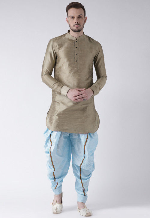 Solid Color Dupion Silk Dhoti Kurta in Fawn