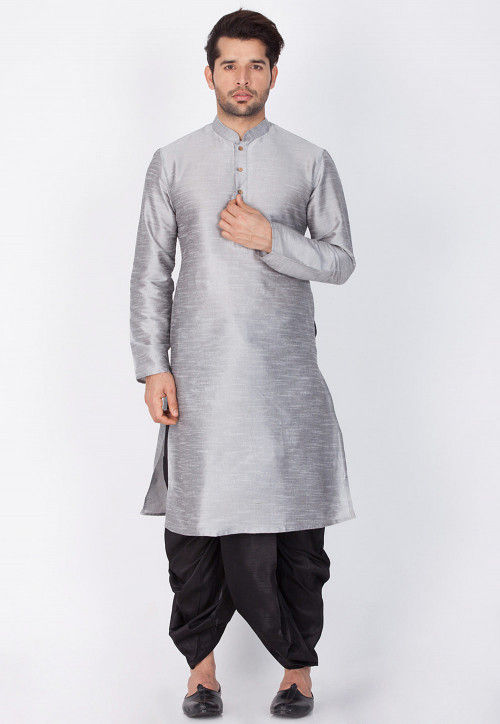 Solid Color Dupion Silk Dhoti Kurta in Grey
