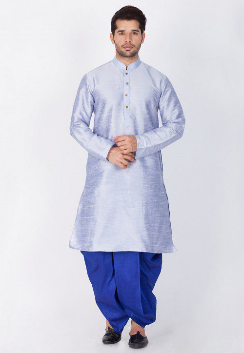 Solid Color Dupion Silk Dhoti Kurta in Light Blue