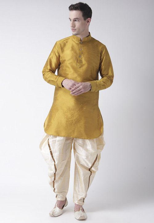 Solid Color Dupion Silk Dhoti Kurta in Mustard