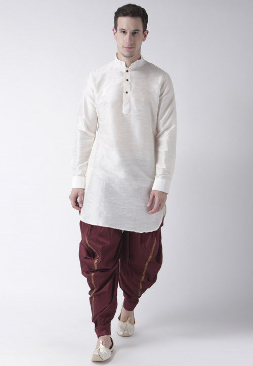 Solid Color Dupion Silk Dhoti Kurta in Off White