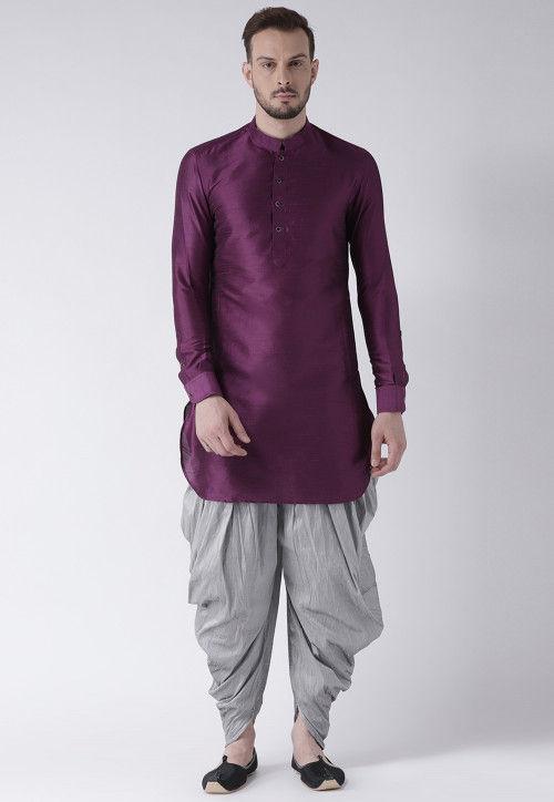 Solid Color Dupion Silk Dhoti Kurta in Purple